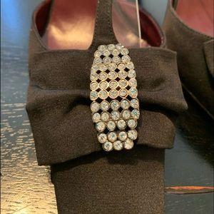 CHANEL black strappy t strap heels 39 9